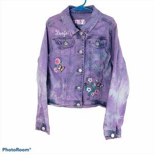 CUSTOM Justice 8/10 Purple Tie Dyed Denim Jacket